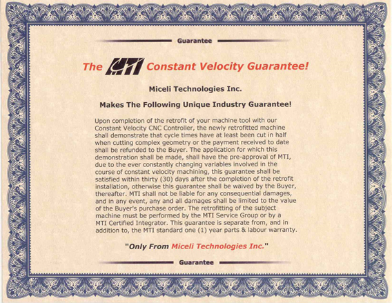 The MTI CVC Money Back Guarantee
